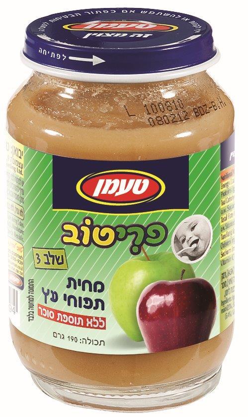 שישיית פריטוב תפוח עץ שלב 3 ללא תוספת סוכר 190 ג